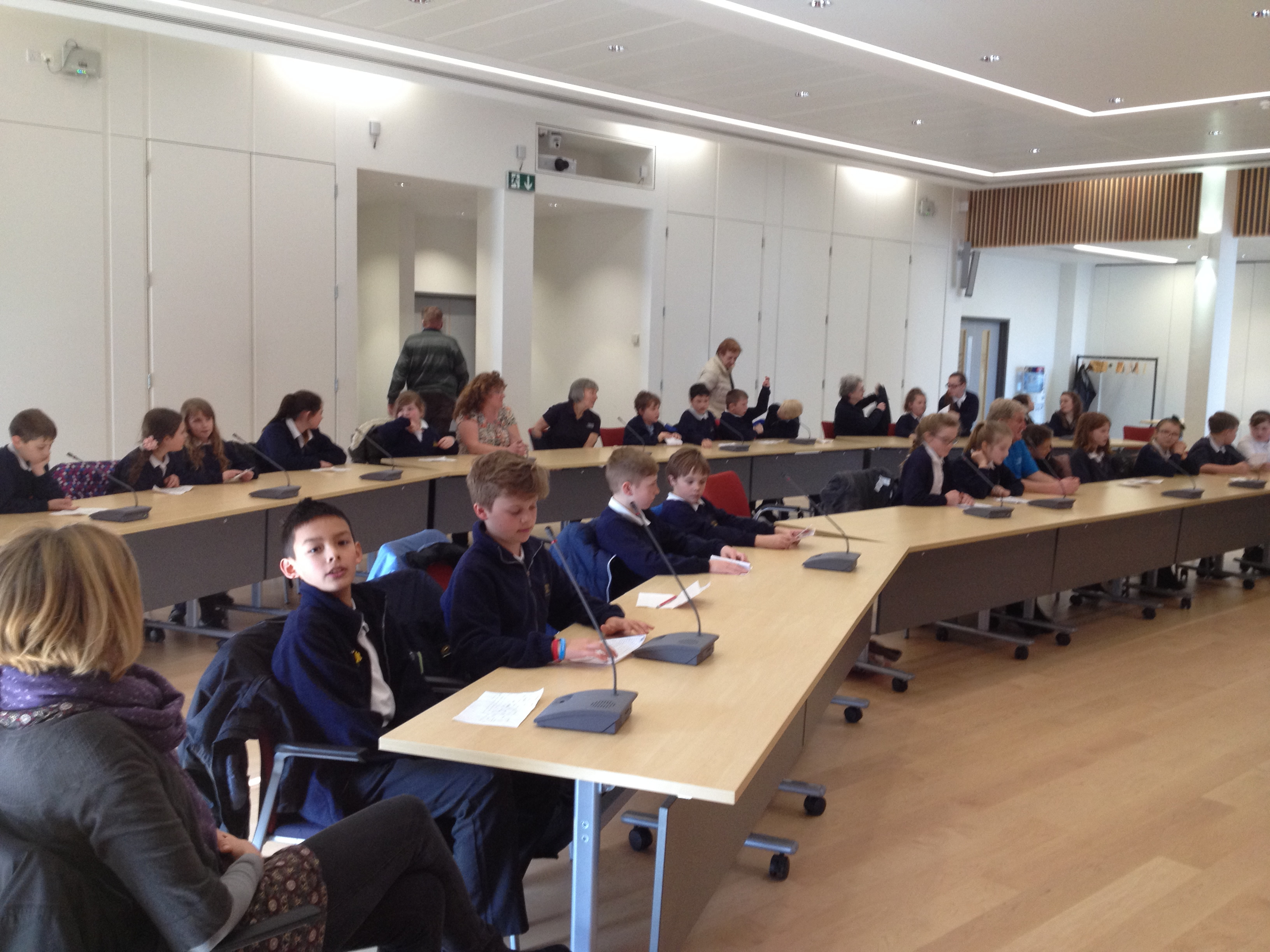 School Children discussing green issues in Chichester Council Chamber