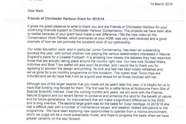 Richard Craven letter to the Friends of Chichester Harbour