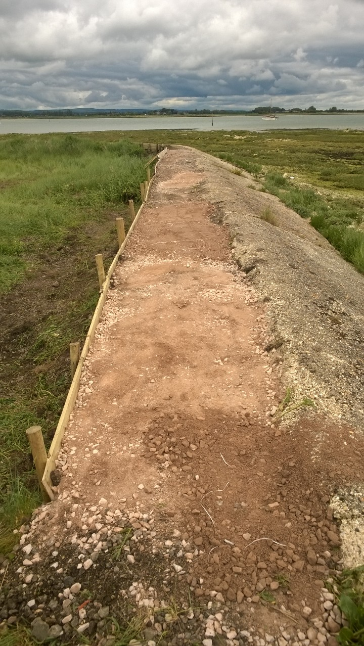 Thorney Island sea wall - with new footpath work in progress