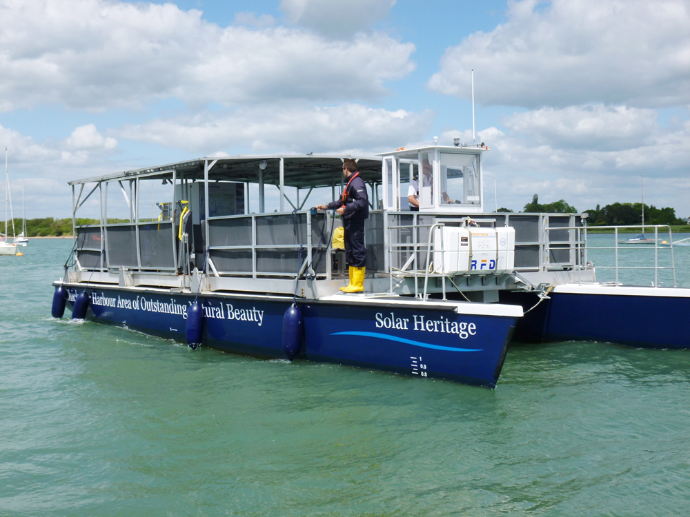 Solar Heritage Solar powered boat - run by The Friends of Chichester Harbour